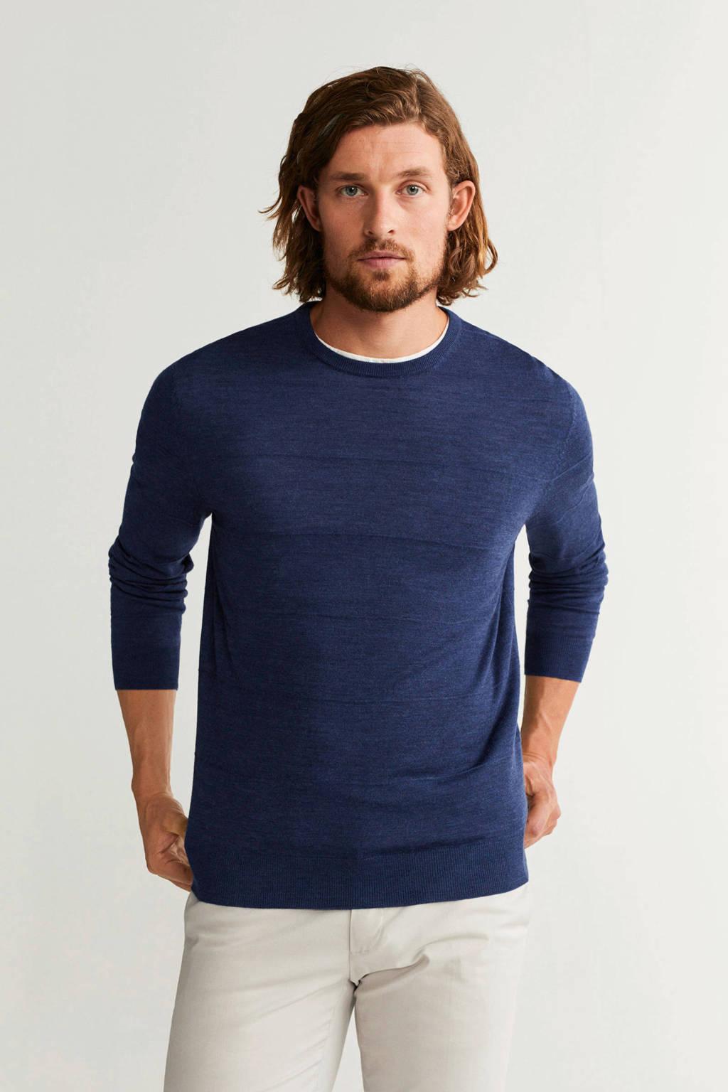 Mango Man gemêleerde wollen trui donkerblauw, Donkerblauw