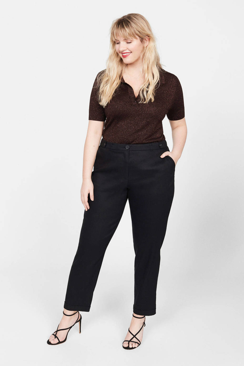Violeta by Mango tapered fit pantalon met linnen zwart, Zwart
