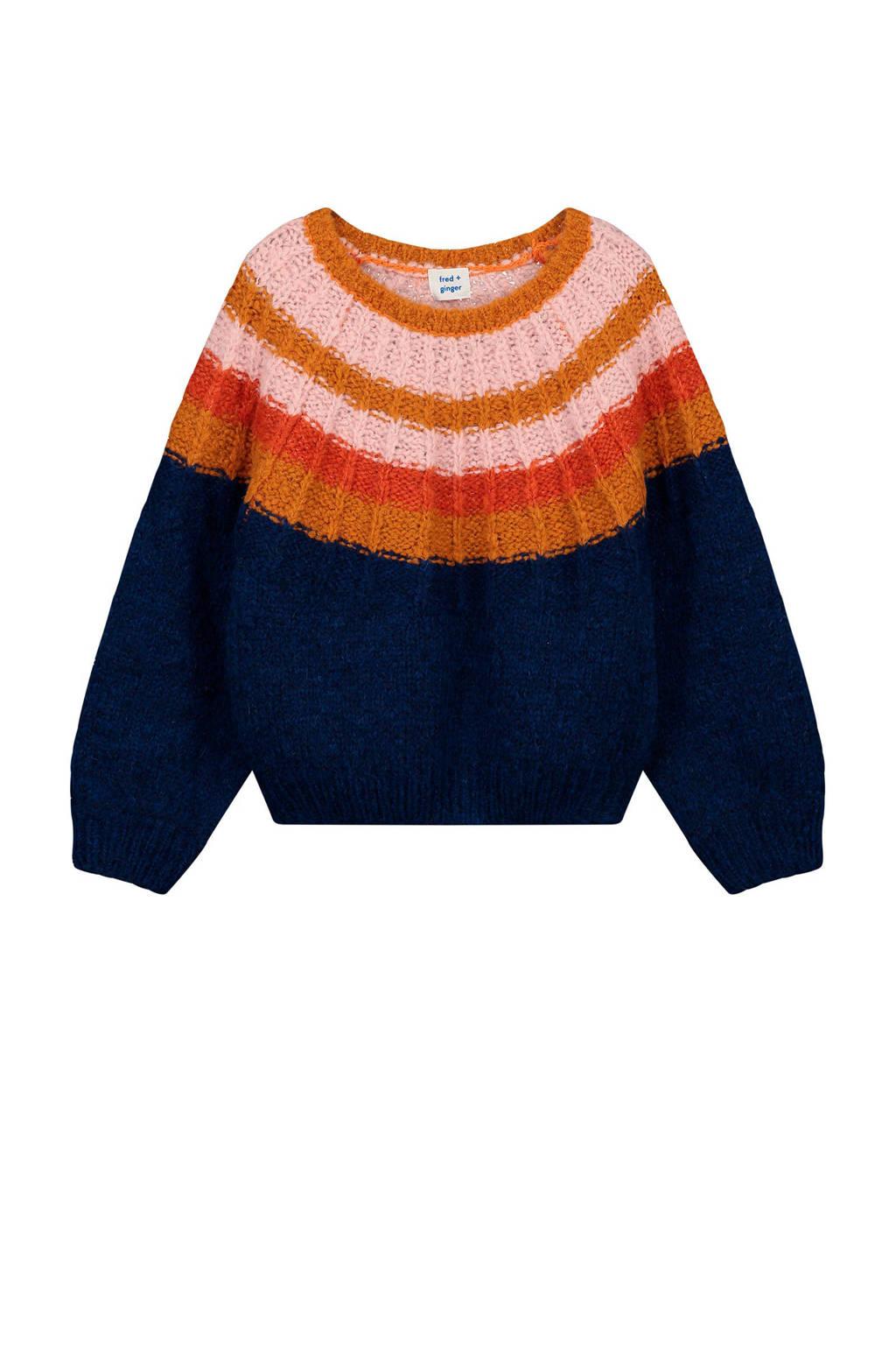 fred + ginger grofgebreide trui Xin met wol donkerblauw/multi, Donkerblauw/multi