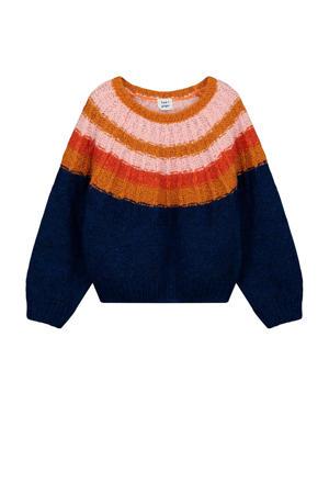 grofgebreide trui Xin met wol donkerblauw/multi