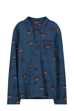 overhemd Eero met all over print donkerblauw