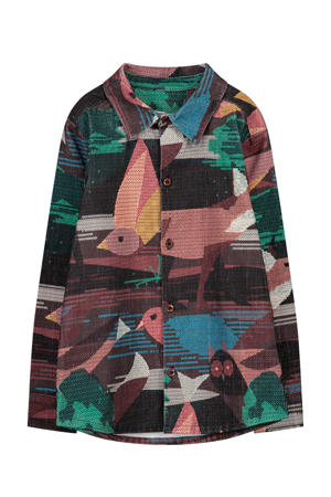 overhemd Man met all over print zwart/bruin/multi