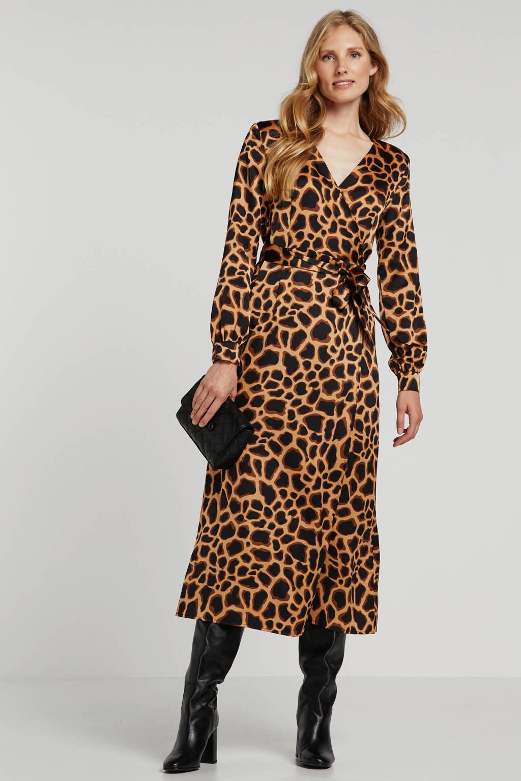 OBJECT maxi jurk met dierenprint bruin/zwart, Bruin/zwart