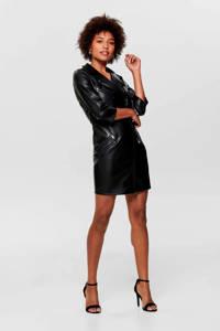 ONLY imitatieleren jurk zwart, Zwart