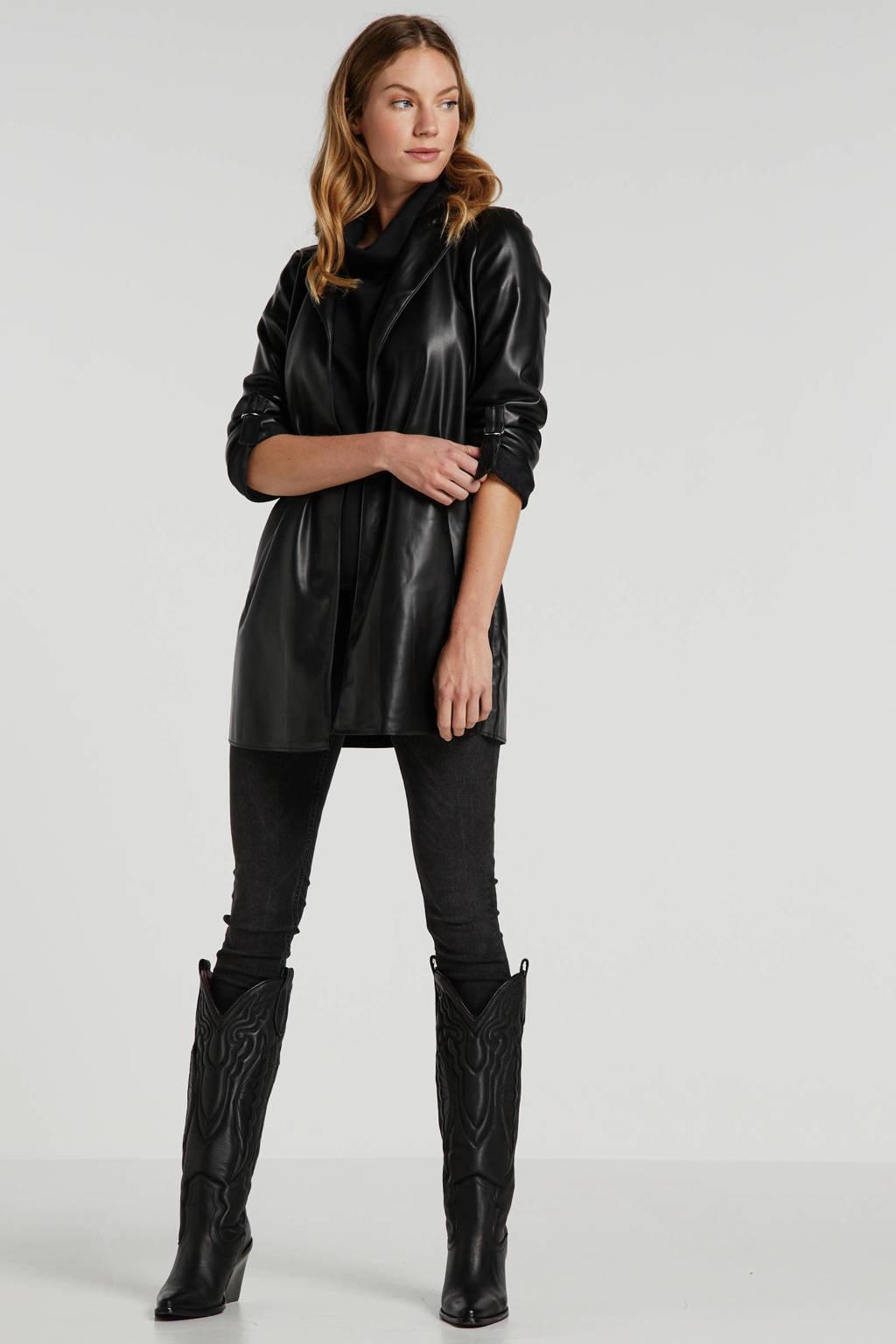 ONLY imitatieleren jasje zwart, Zwart