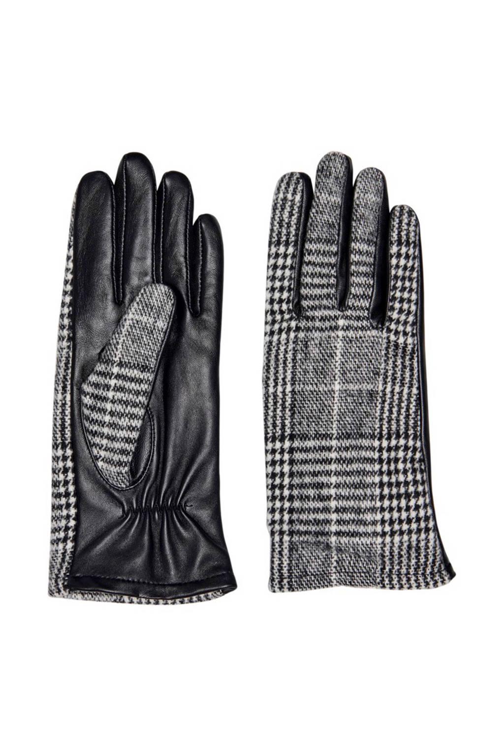 ONLY leren handschoenen met ruitdessin zwart, Zwart