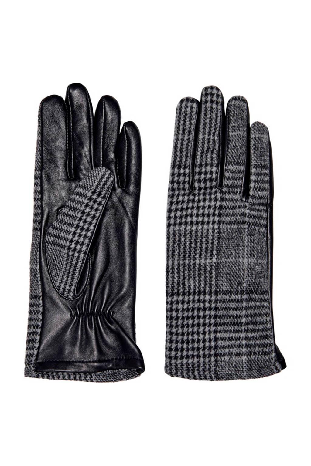 ONLY geruite handschoenen zwart, Grijs