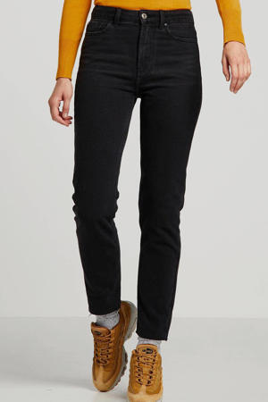 cropped high waist straight fit jeans ONLEMILY black denim
