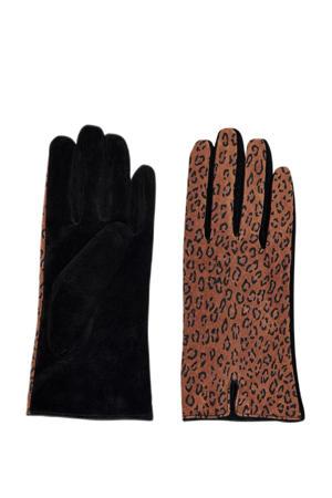 suéde handschoenen met panterprint bruin