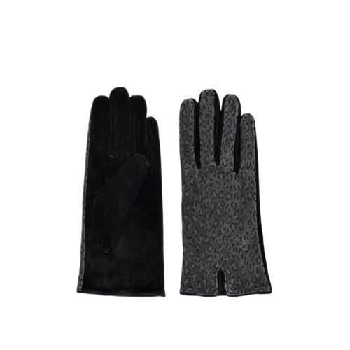 ONLY su??de handschoenen met panterprint grijs