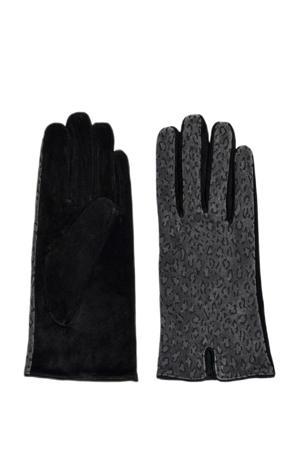 suéde handschoenen met panterprint grijs