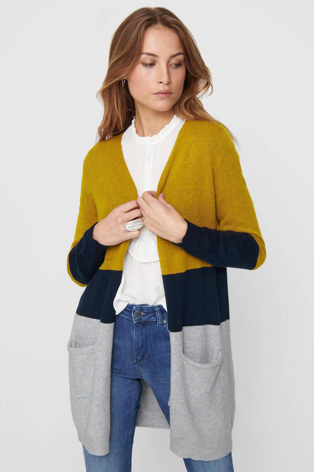 ONLY gestreept vest grijs/donkerblauw/geel, Grijs/donkerblauw/geel