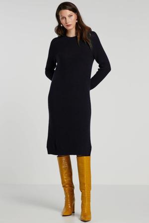 jurk met wol donkerblauw