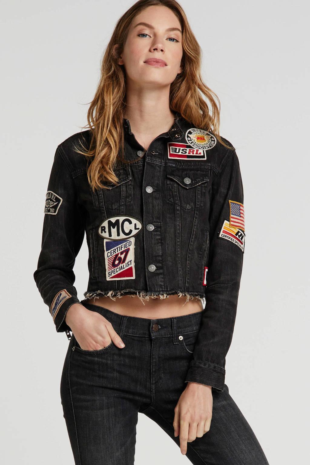 POLO Ralph Lauren spijkerjasje met patches zwart, Zwart