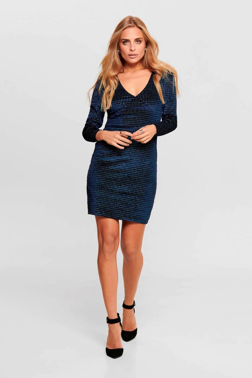 ONLY fluwelen jurk donkerblauw, Donkerblauw