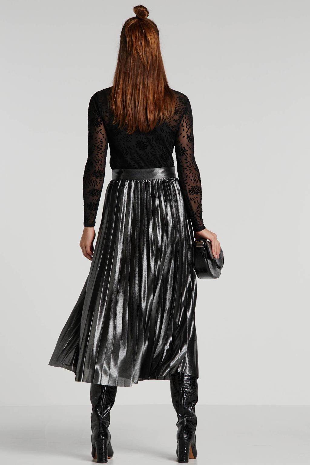 ONLY gebloemde semi-transparante top zwart, Zwart