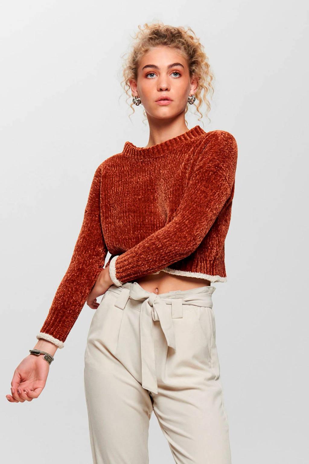ONLY grofgebreide chenille trui roodbruin, Roodbruin