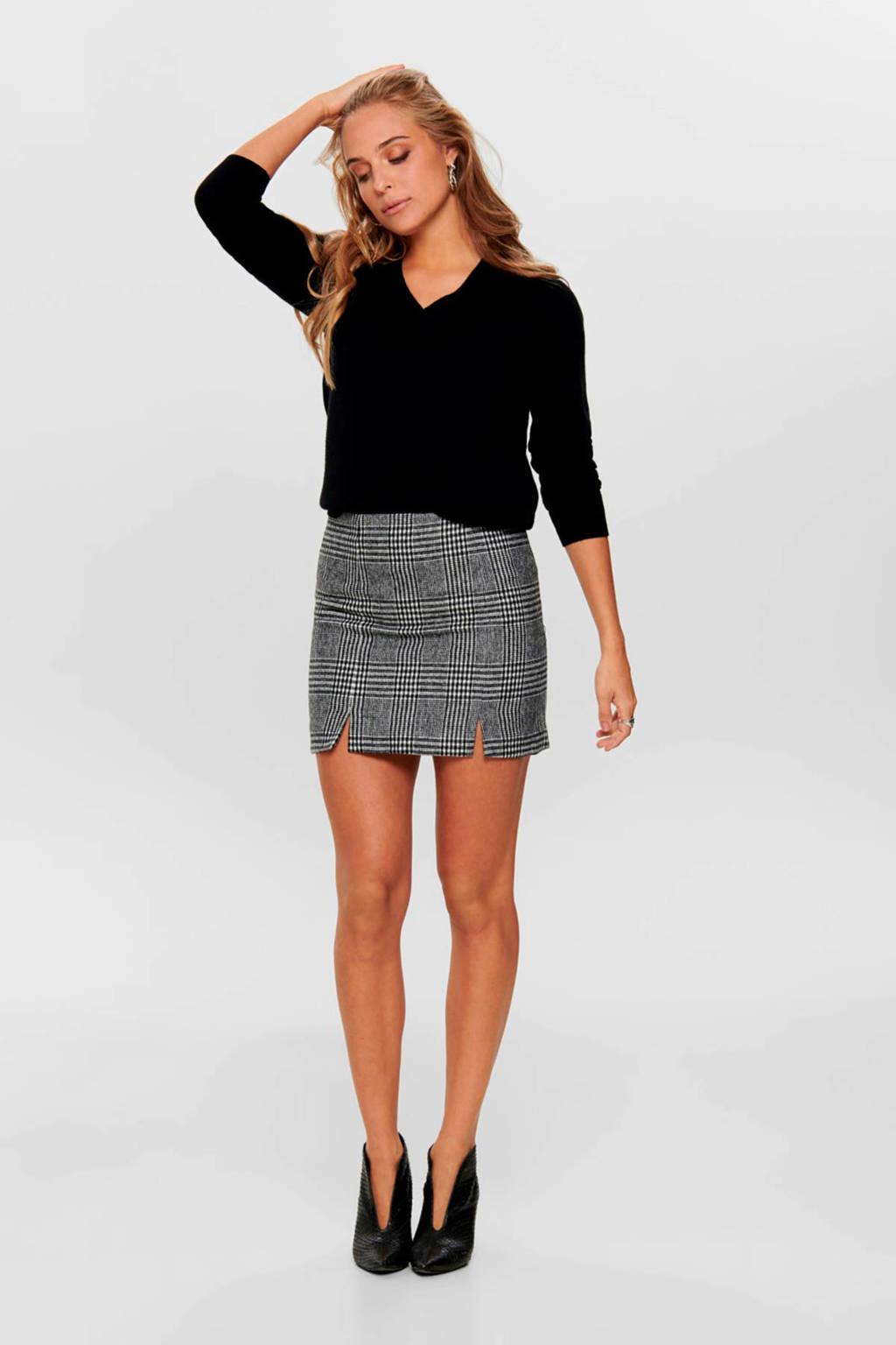 ONLY geruite rok zwart, Zwart