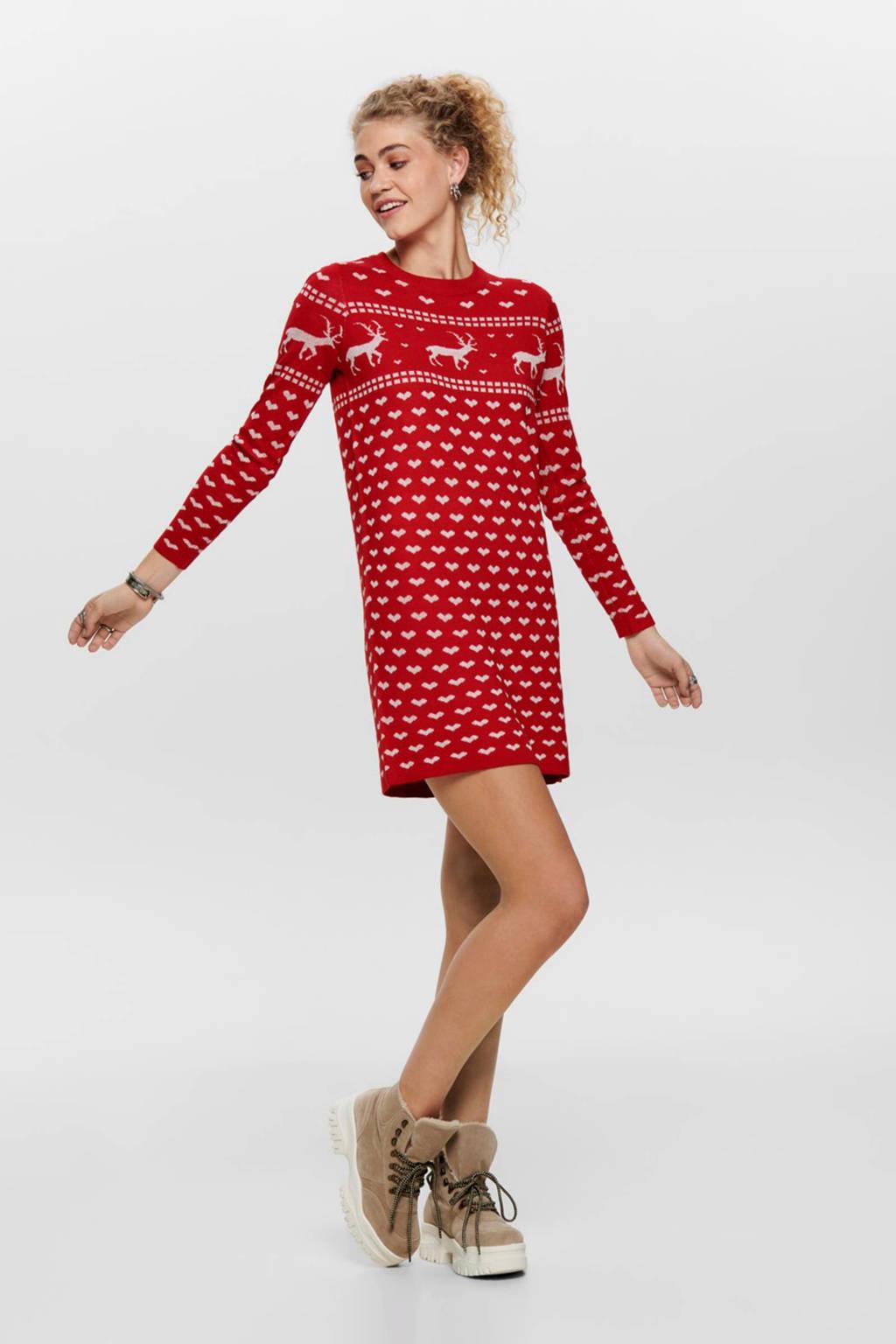 ONLY gebreide jurk met all over print rood, Rood