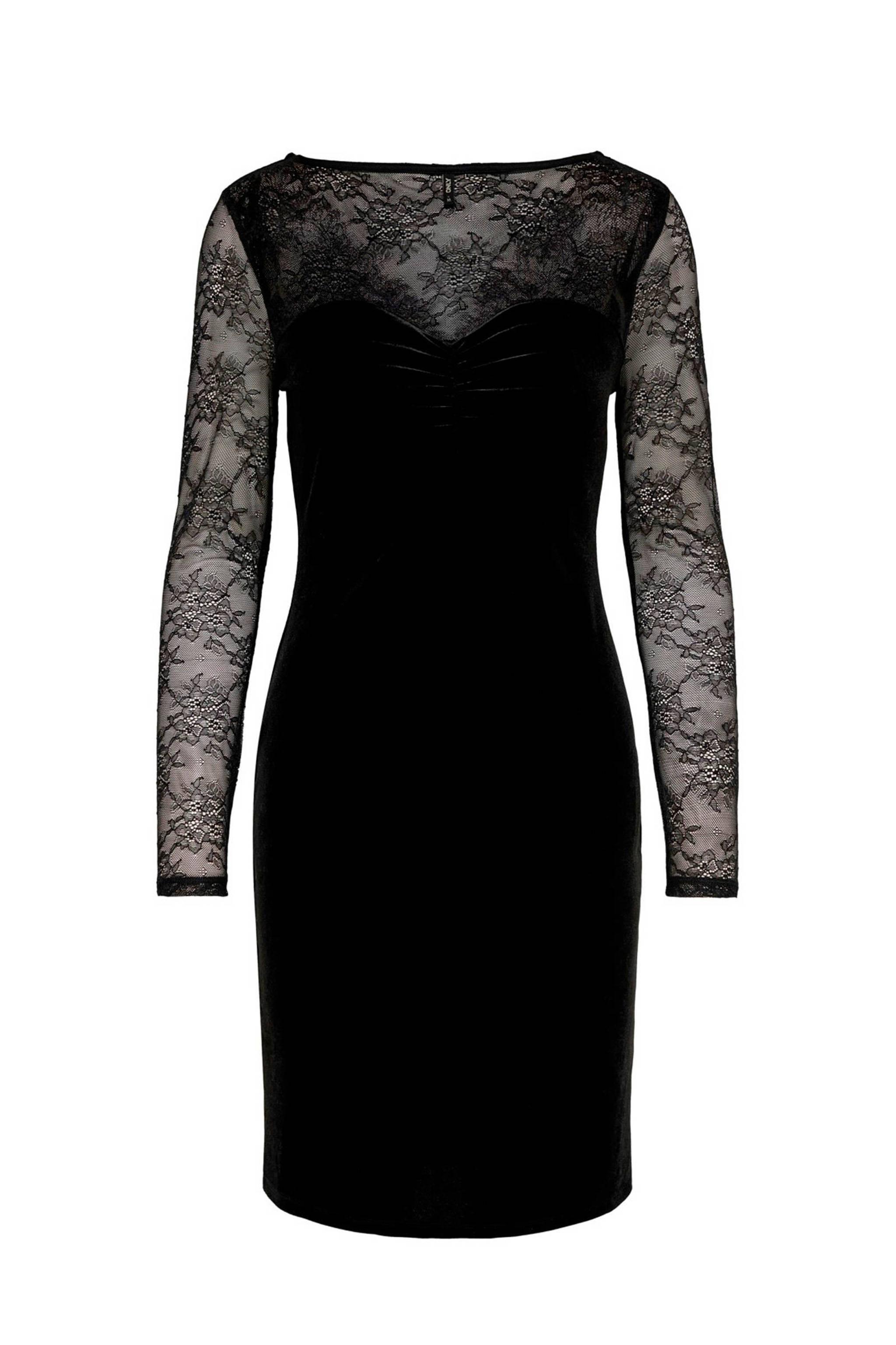 Ongekend ONLY fluwelen jurk met kant zwart | wehkamp XM-91