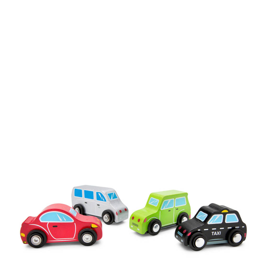 New Classic Toys houten Voertuigenset 4  auto's, Rood