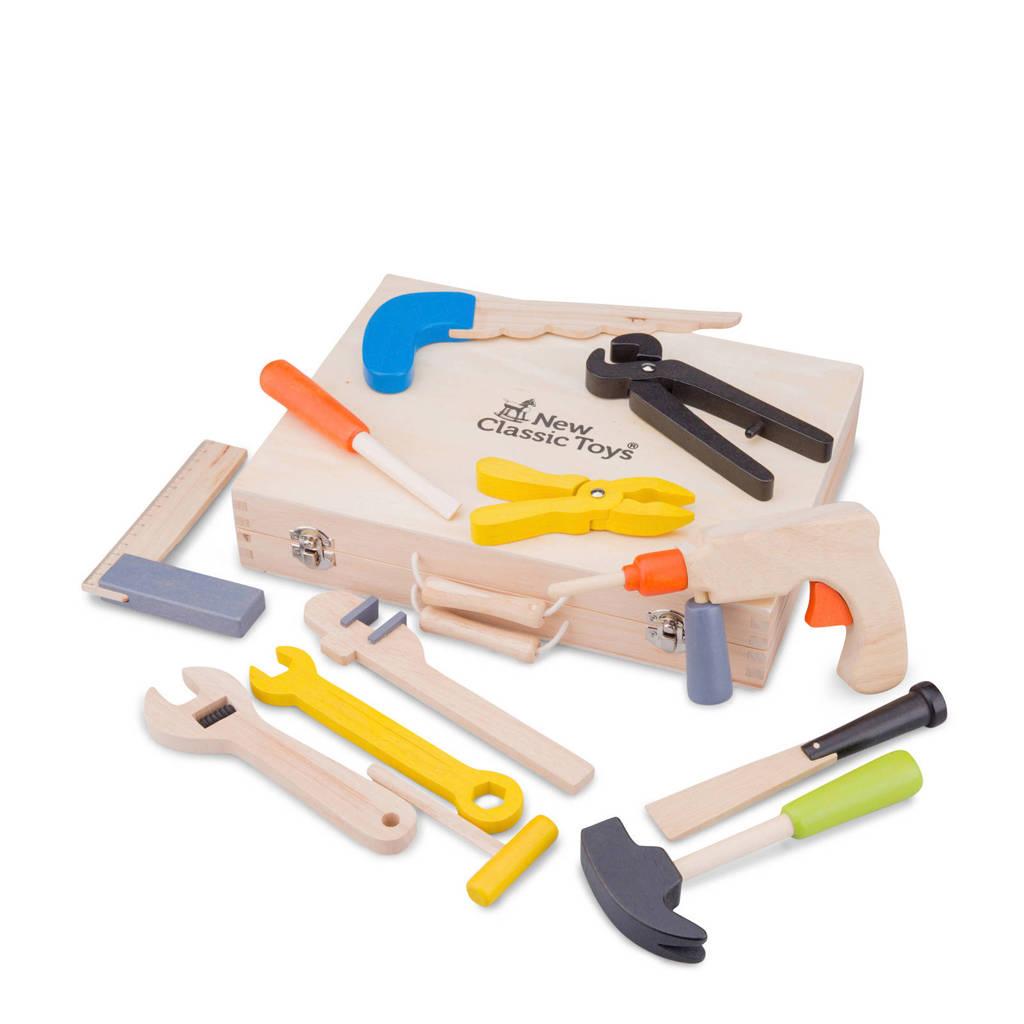 New Classic Toys houten Gereedschapskist met 12 onderdelen, Zand