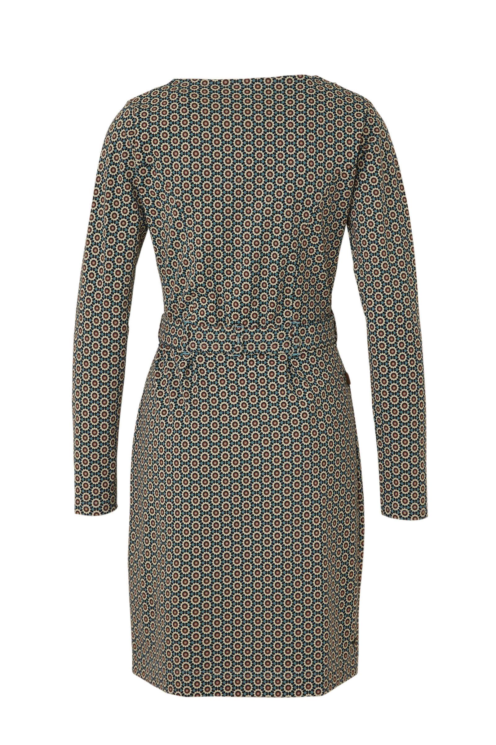 4funkyflavours jersey jurk met all over print bruin/wit/blauw