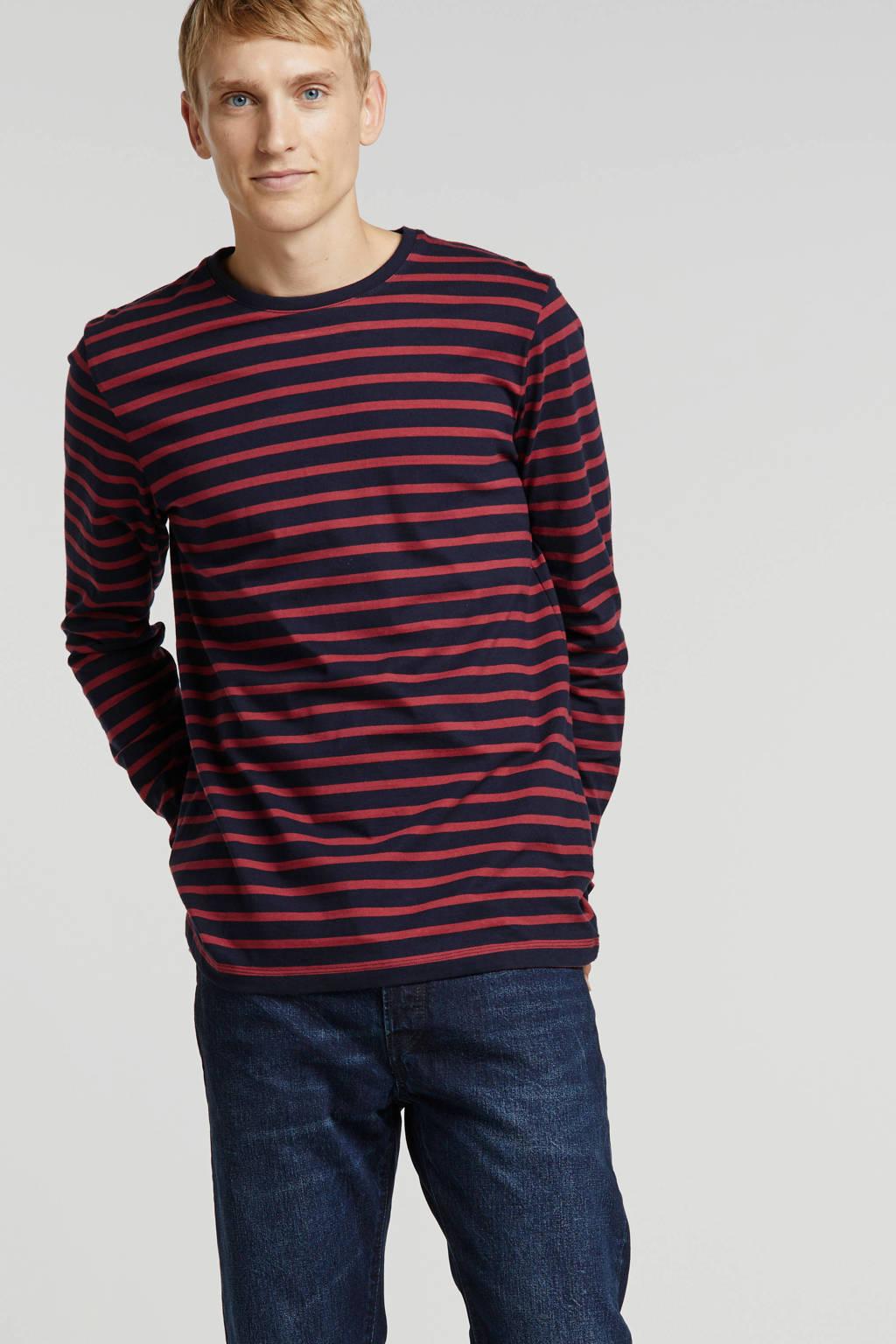 ESPRIT Men Casual gestreept T-shirt marine/rood, Marine/rood