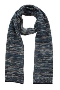 PME Legend geméleerde sjaal blauw, Blauw/wit/zwart