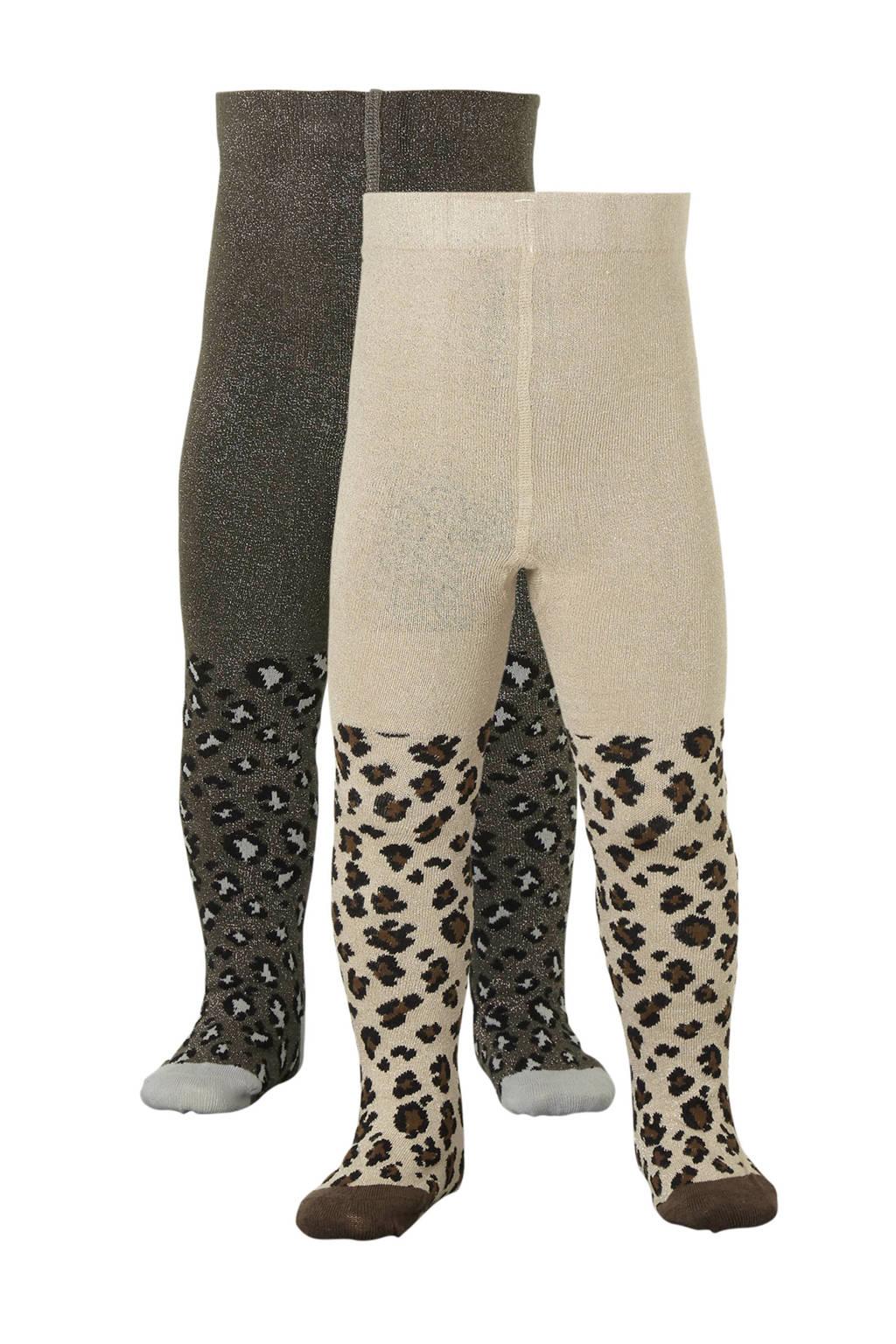 Apollo panterprint maillot set van twee paar, bruin multi