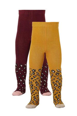 tijgerprint maillot set v an 2 paar donkerrood/oker