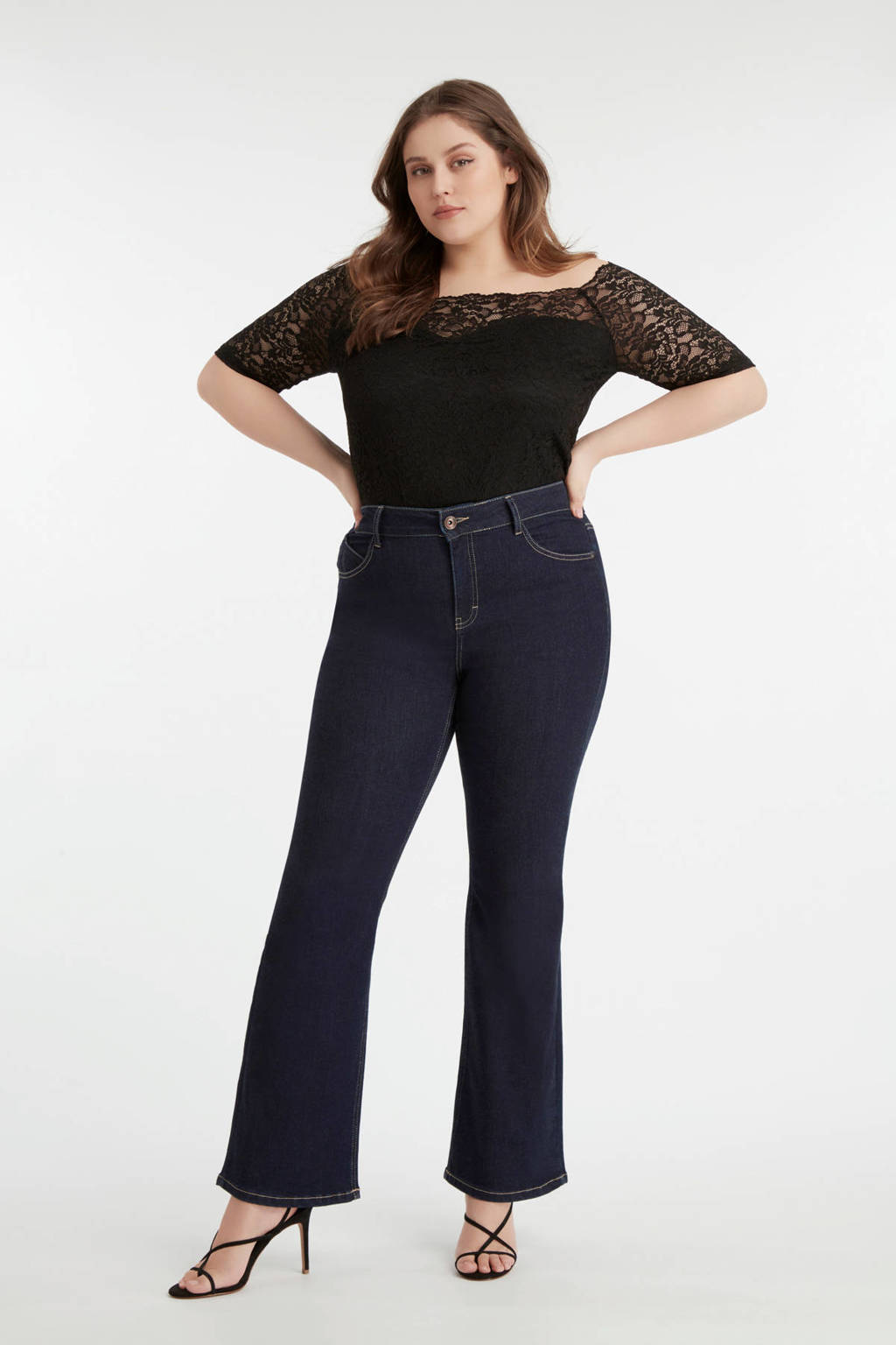 MS Mode flared jeans dark denim, Dark denim