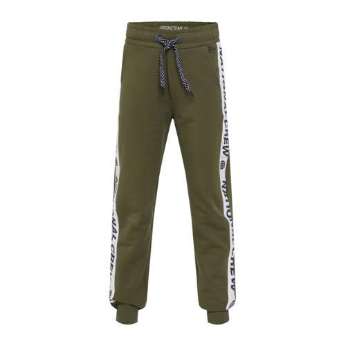 WE Fashion joggingbroek met zijstreep donkergroen/