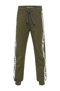 WE Fashion   joggingbroek met zijstreep donkergroen/wit/zwart, Donkergroen/wit/zwart
