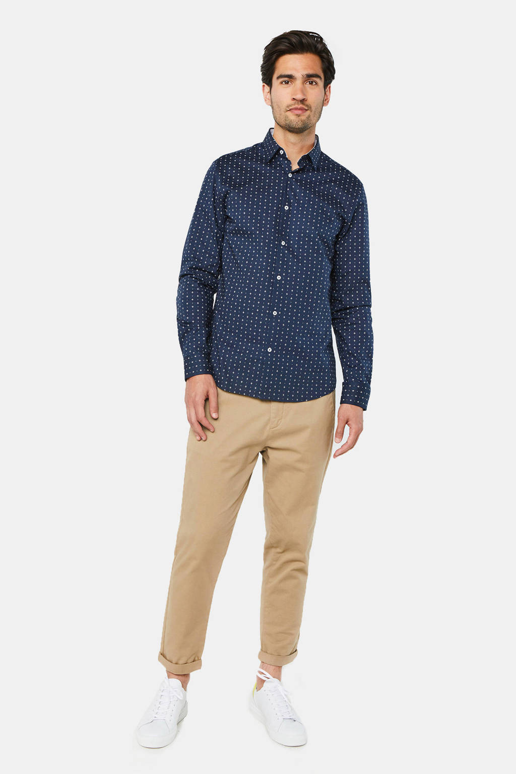WE Fashion slim fit overhemd met all over print marine, Marine