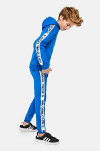 WE Fashion joggingbroek met zijstreep blauw/wit/zwart, Blauw