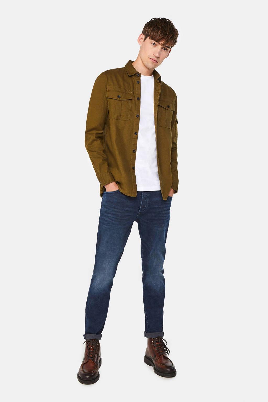 WE Fashion regular fit overhemd bruin, Forest night