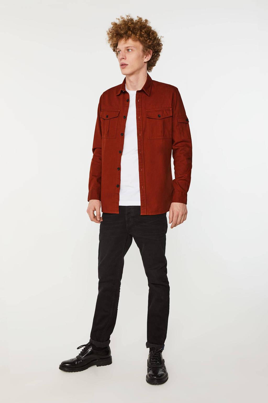 WE Fashion regular fit overhemd rood, Arabian Spice