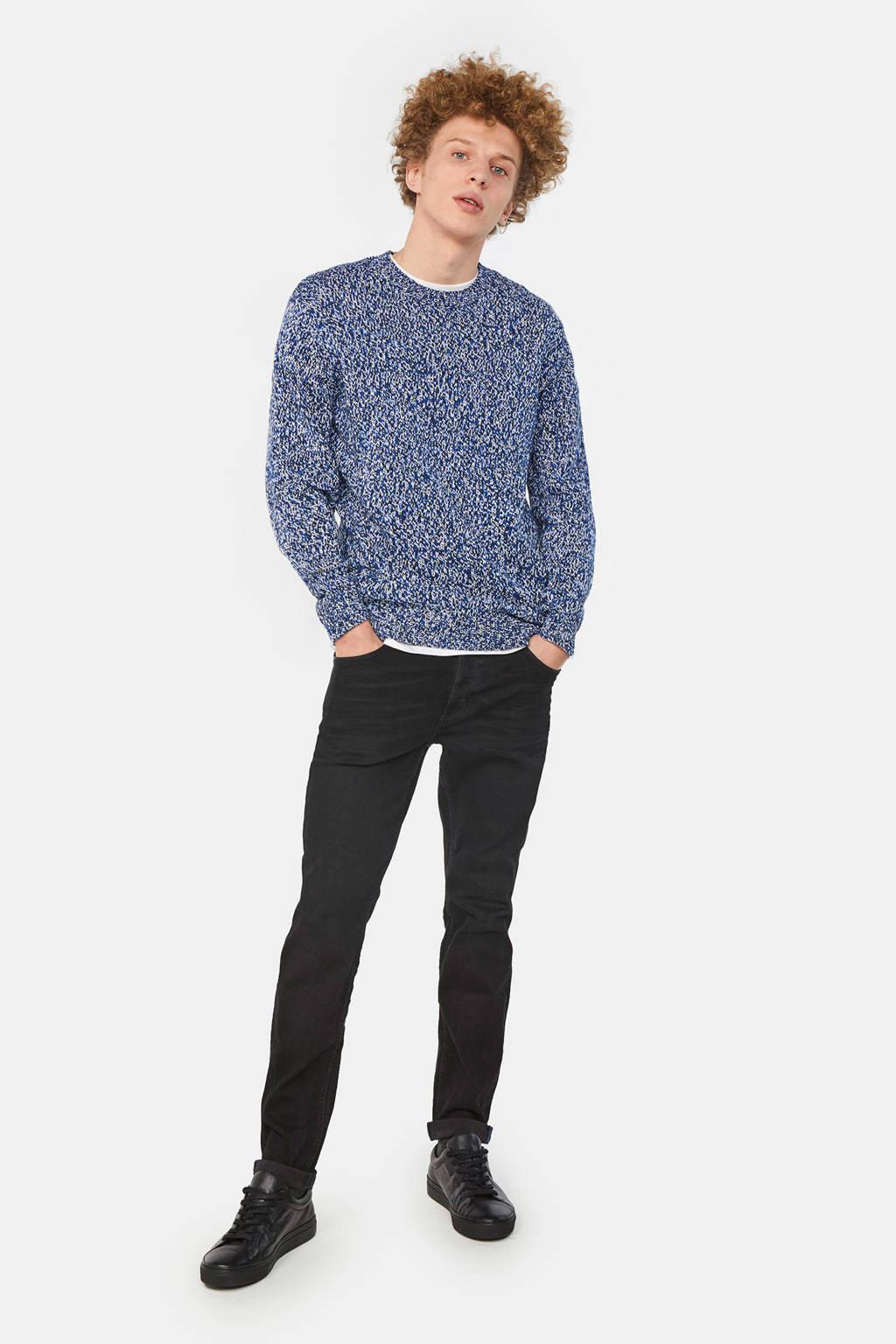 WE Fashion gemêleerde gebreide sweater blauw, Blauw