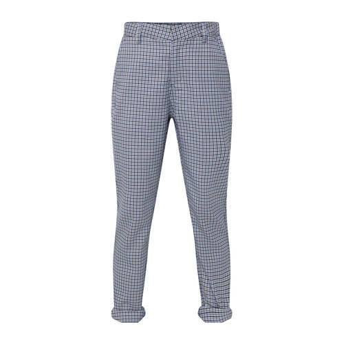 WE Fashion pantalon met ruit patroon blauw/wit/zwa