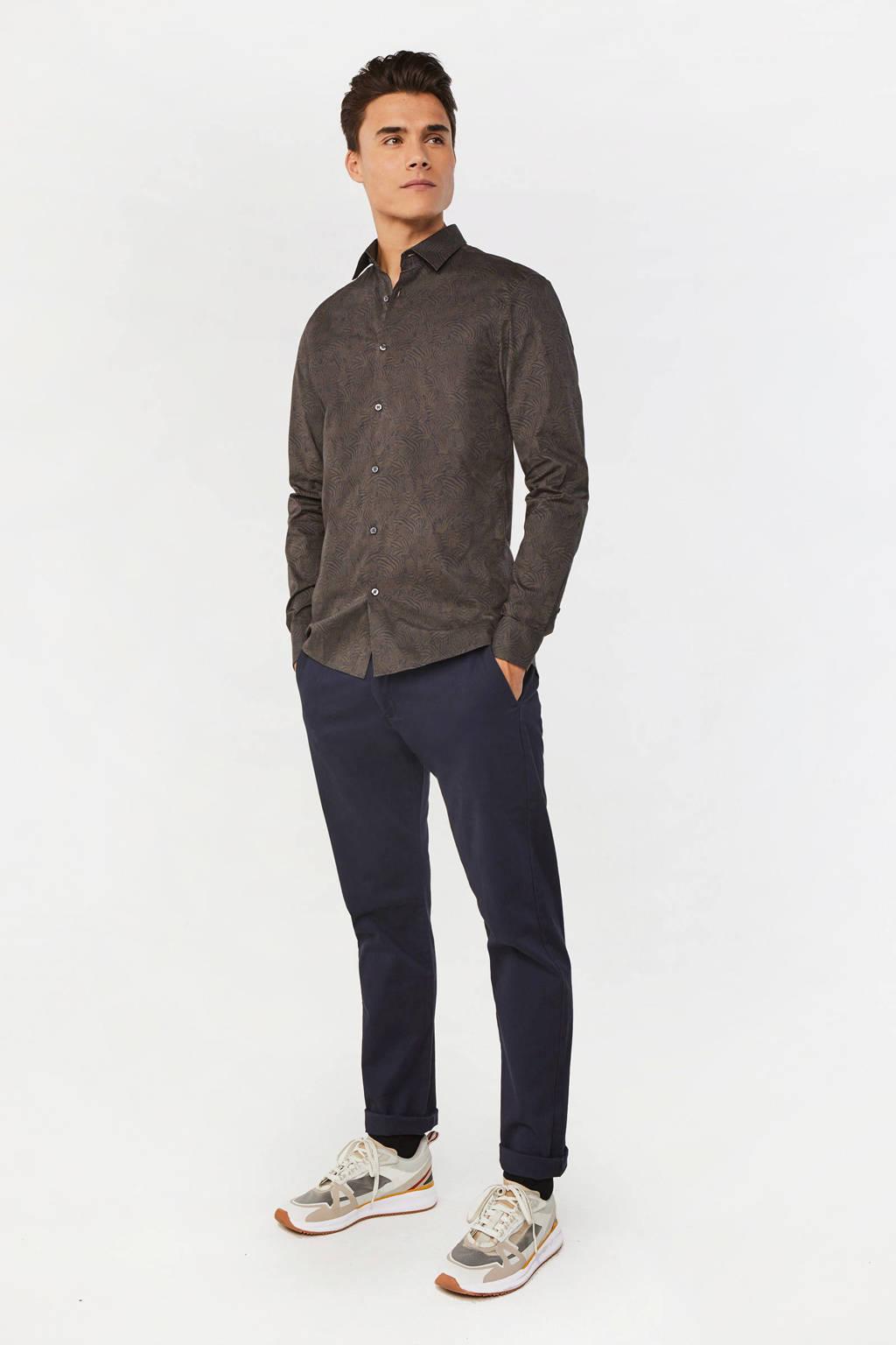 WE Fashion slim fit overhemd met all over print donkergroen, Donkergroen