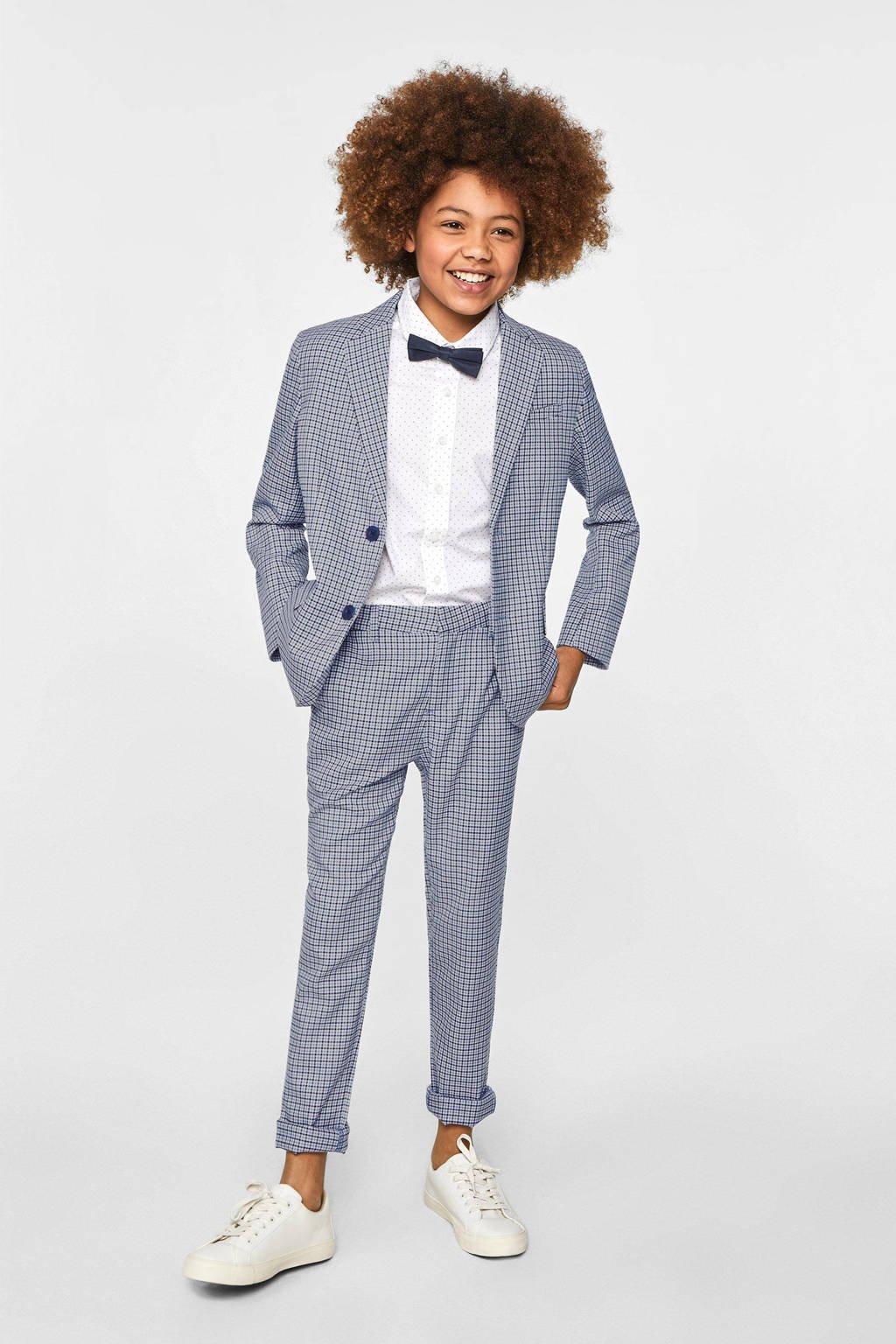 WE Fashion geruit colbert blauw/wit/zwart, Blauw/wit/zwart
