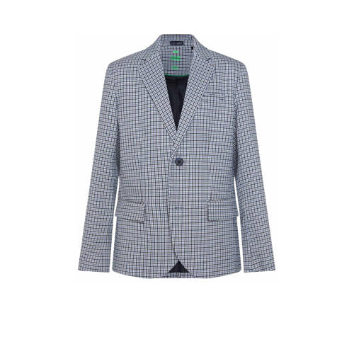 WE Fashion geruit colbert blauw/wit/zwart