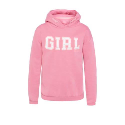 WE Fashion hoodie met tekst roze/wit