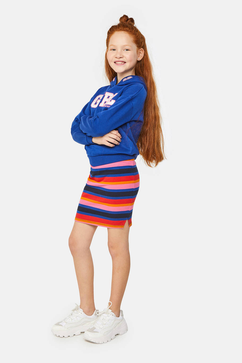 WE Fashion fleece hoodie met tekst blauw/wit/roze, Blauw/wit/roze