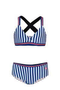 WE Fashion gestreepte bikini blauw/wit, No Color