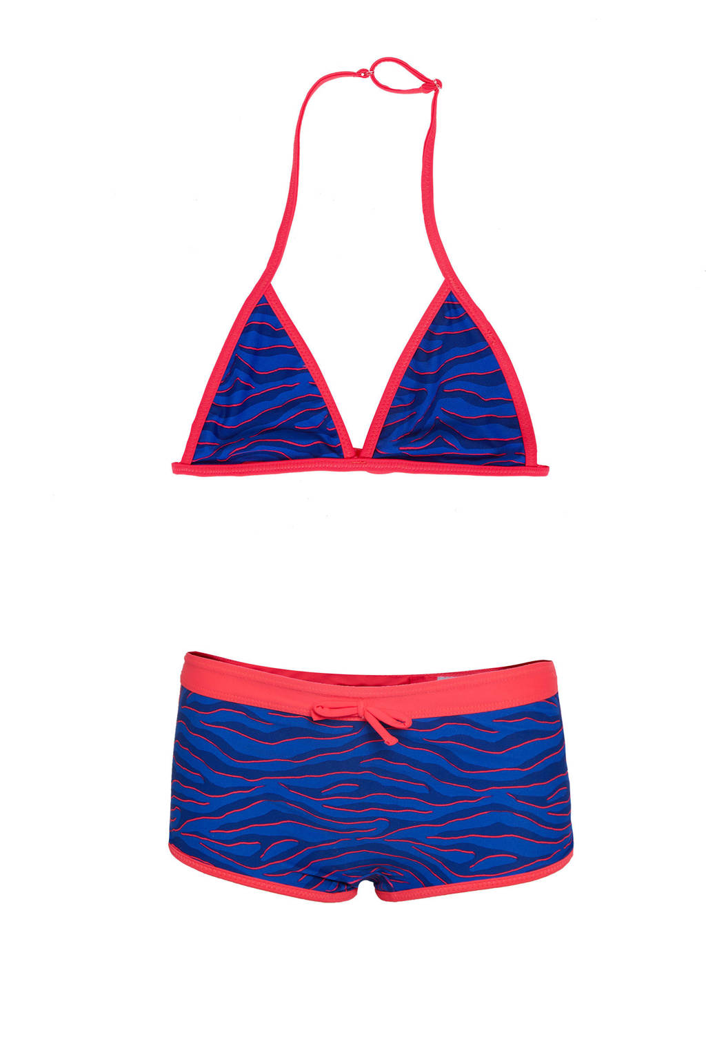 WE Fashion triangel bikini met all over print, Roze / Blauw