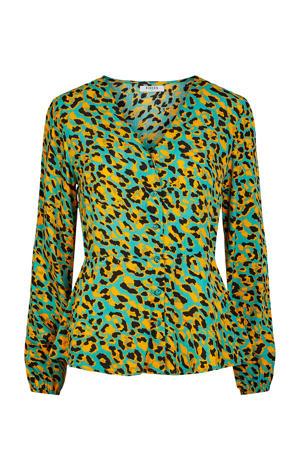 blouse met all over print groen/geel/zwart