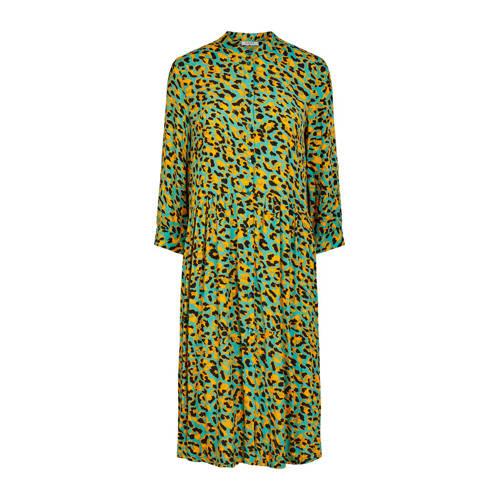 PIECES blousejurk met all over print en plooien groen geel zwart