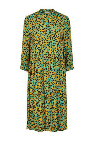 blousejurk met all over print en plooien groen/geel/zwart